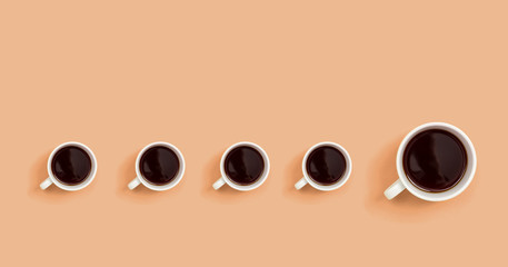 One out unique coffee cup concept overhead view flat lay