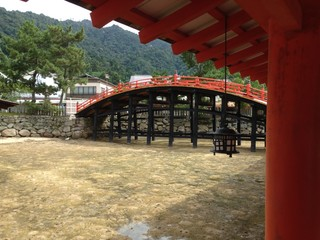 Red Bridge at Itsukushima Shrine in Miyajima, Hiroshima, Japan