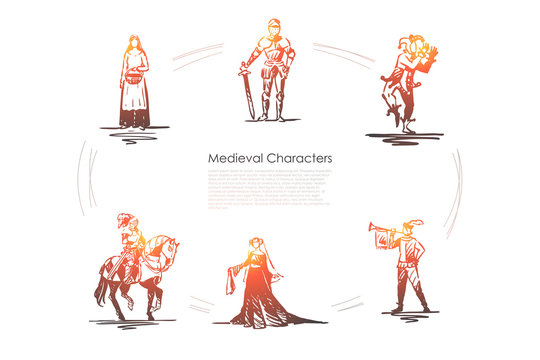 Medieval characters - knight, troubadour, buffon, peasant woman and countess vector concept set