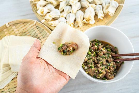 Chinese food wonton making process