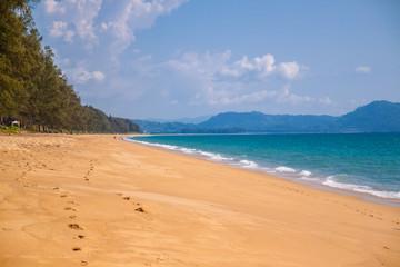 Obraz the shore disappears in the distance. Mai Khao beach ,Phuket ,Thailand - fototapety do salonu
