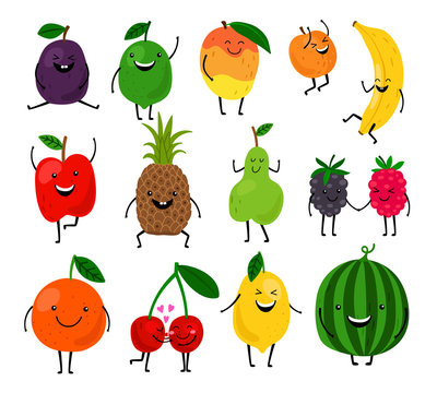 Fruits for kids. Cute fruit characters vector illustration, healthy juice cartoon kawaii summer fruits isolated on white background