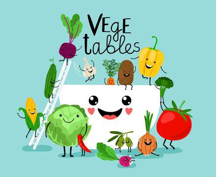 Vegetables salad diet. Fresh vegetarian healthy meals, vegetable bowl ingredients, raw food vegan diet design illustration
