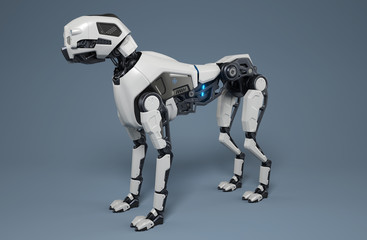 Robot dog stands on a gray background