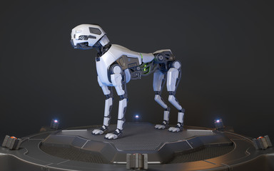 Robot dog stands on a charging dock
