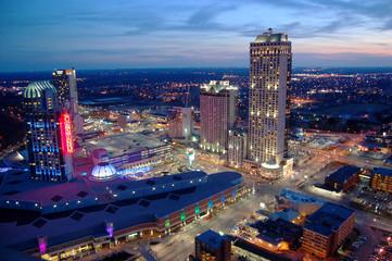 Niagara Falls Casino and Resorts at sunset, Canada Wall mural