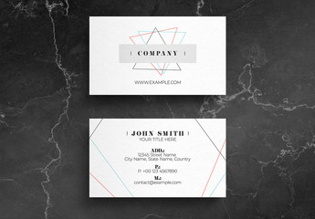 White Business Card Layout with Colorful Thin Line Design