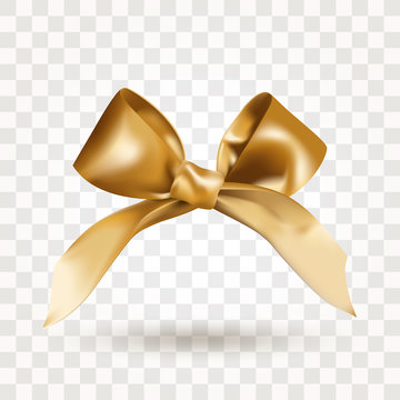 Golden elegant satin bow with knot isolated on transparent background. Realistic vector illustration. Element for design