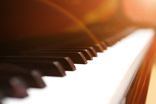 Close-up of a grand piano keyboard, very shallow DOF!