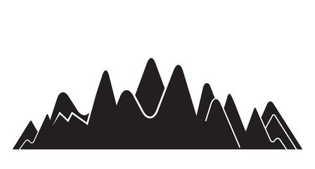 valley, mountain range silhouette on white background Fototapete