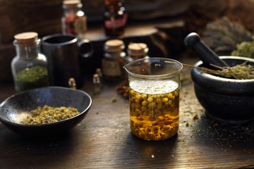 An infusion of chamomile flowers, herbal tea