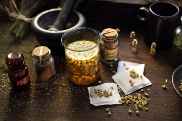 Herbal medicine dried chamomile flowers, traditional medicine