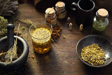 Herbal medicine Chamomile, lavender, horsetail, nettle, herbs in traditional medicine, home medicine cabinet