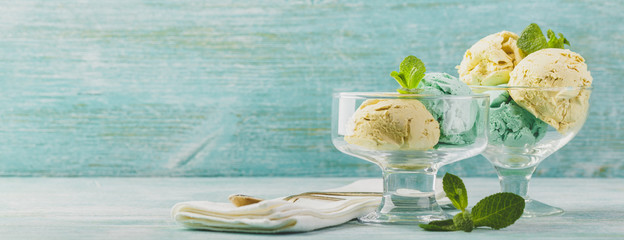 Ice cream with mint in ceramic bowl
