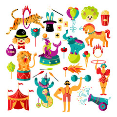 Circus. Vector illustration set with circus tent, animals, celebratory objects. Flat and outline style design element isolated on white background for baby birthday party, patch, sticker, invitation.