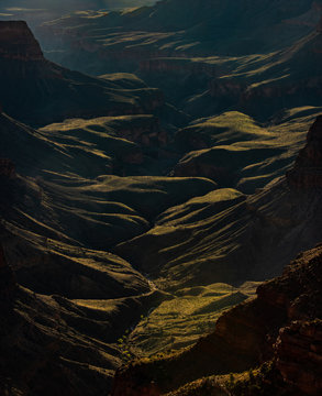 A rare green Valley from the floor of the Grand Canyon. Near Wotan's throne lurks this rare grassy plateau in the rugged Arizona dessert. The valley is surrounded by canyons and shaped by wind