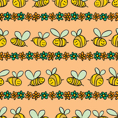 Vector pastel orange bees and flowers stripes repeat pattern. Suitable for gift wrap, textile and wallpaper.