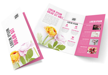 Trifold Brochure Layout with Flowers Background