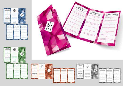 Trifold Menu Layout in 5 Colors