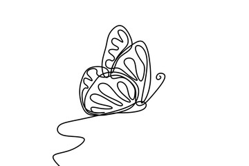 Butterfly with patterns on the wings continuous one line drawing element isolated on white background for logo or decorative element. Vector illustration of insect form in trendy outline style.