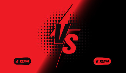 Versus screen design. Red and black VS letters. Vector illustration