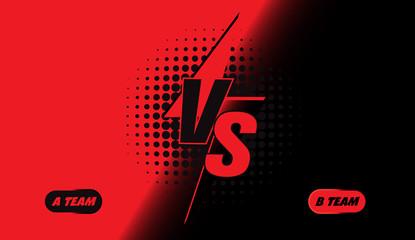 Versus screen design. Red and black VS letters. Vector illustration