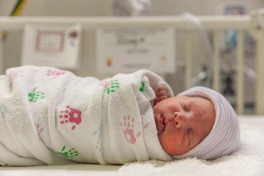 sleeping baby in hospital