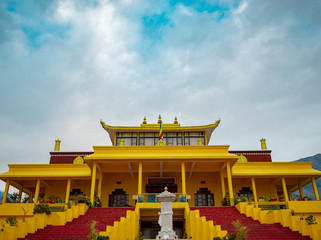Gyuto Monastery , Himachal Pradesh (India), wide angle shot includes the cloud pattern with blue sky , best for wallpapers