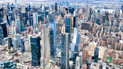 Fototapete - NEW YORK CITY - DECEMBER 3, 2018: Aerial view of Midtown skyscrapers. New York attracts 50 million people annually