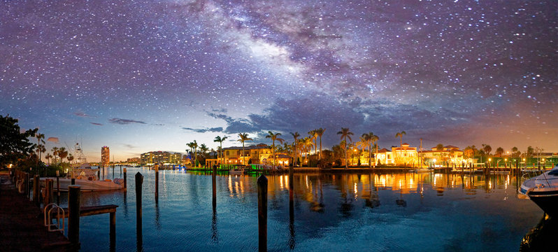 Boca Raton skyline and reflections on a starry night, Florida