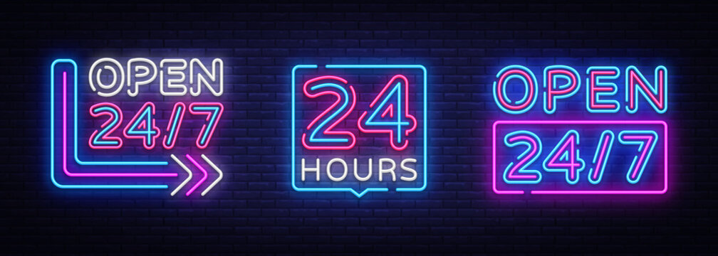 24 hours Neon signboards set Vector. Open all day neon signs, design template, modern trend design, night bright advertising, light banner, light art. Vector illustration
