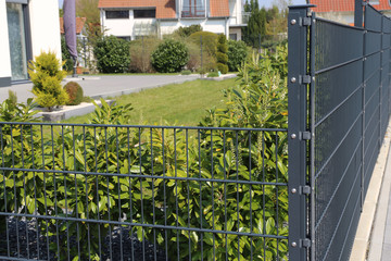 Green garden fence as property fence line
