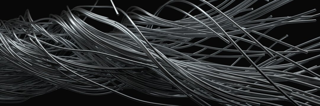 twisting steel wires. flowing metal rods on air. 3d illustration