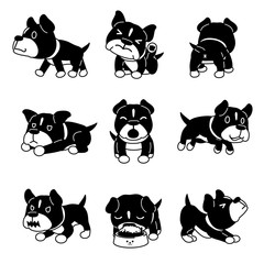 Vector cartoon character pit bull terrier dog poses for design.