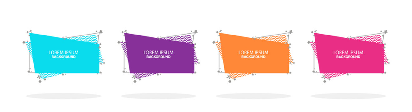 Abstract design. Modern banner set. Flat geometric liquid form with various colors. Vector