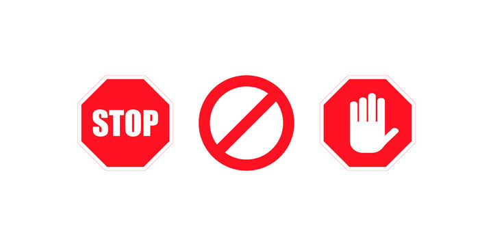 Sign stop no red colored. Set sign icon. Stop icon isolated on white background. Vector