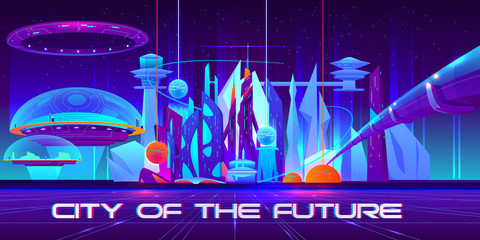 Poster Violet City of future at night with glowing neon lights and shining spheres. Metropolis landscape with flying town parts under glass domes, spaceship, tube bridge and skyscrapers. Cartoon vector illustration