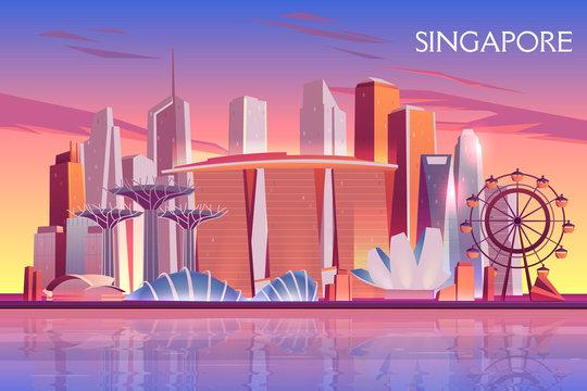Singapore evening, morning skyline with futuristic skyscraper buildings on city bay illuminated with setting, raising sun cartoon vector background. Asian metropolis touristic attractions illustration