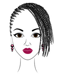 Profile of the head of a sweet lady. An African American girl shows her hairstyle on medium and short hair. Silhouette, beautiful and stylish woman. Vector illustration