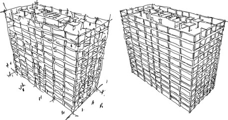 two hand drawn architectural sketches of office building concrete structure with culomns and windows and walls