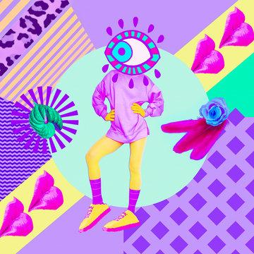 Contemporary art collage. Fashion Eye. Texture mix. Zine culture concept
