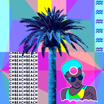 Contemporary minimal art collage. Mama Africa. Palm trees. Beach mood. Zine culture concept