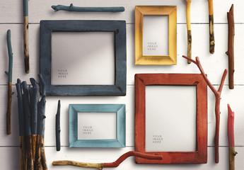 Wooden Photo Frame Mockup Set