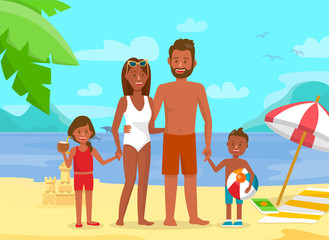 Young Family on Summer Holidays Flat Illustration