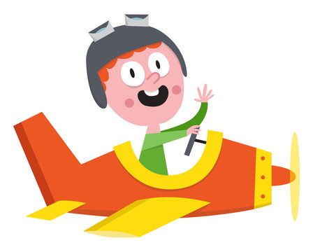 Kid in an airplane