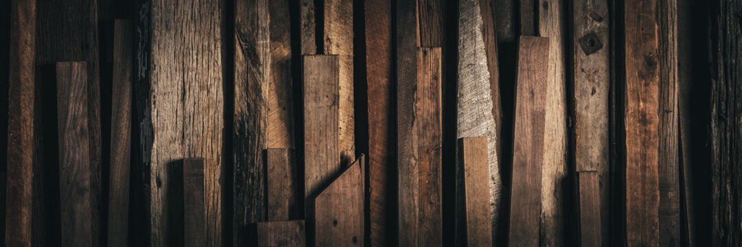 Banner Of Stack Of Old Rustic Reclaimed Wood Pieces With Various Sizes And Textures