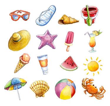 Acuarela conjunto de iconos de playa