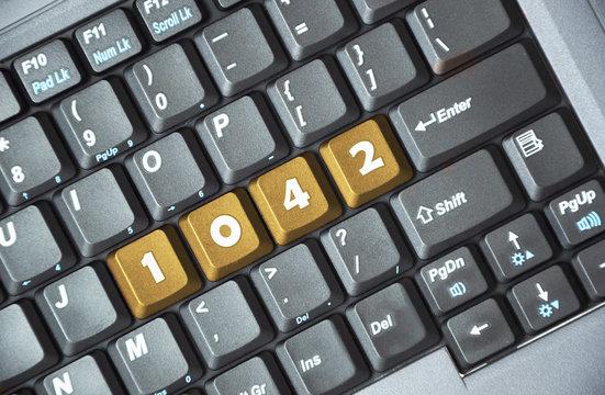 Brown 1042 key on keyboard
