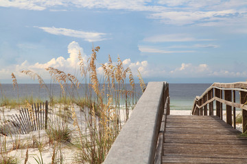 Wall Mural - Boardwalk Over the Dunes to the Beautiful White Sand Beach of North Florida