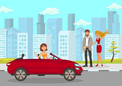 Happy Woman Meets Friends Flat Vector Illustration